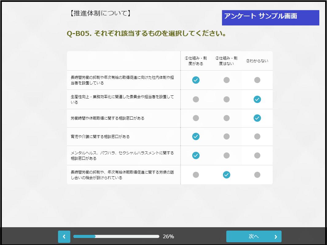 アンケート画面(サンプル)